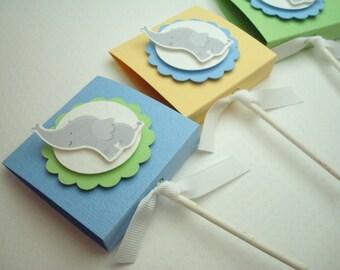 Baby Elephant Lollipop Favors for Boys, Pastel Colors, Set of Ten