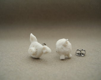 Porcelain piggy - ear-studs with pigs head and pigs tail - taxidermy