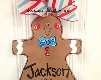 Gingerbread Man Christmas Ornament - Bronwyn Hanahan Art