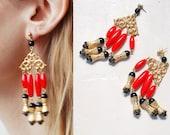 70s 80s boho dangle earrings. red and gold chandelier earrings