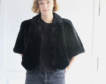 vintage 40s black faux fur stole wrap