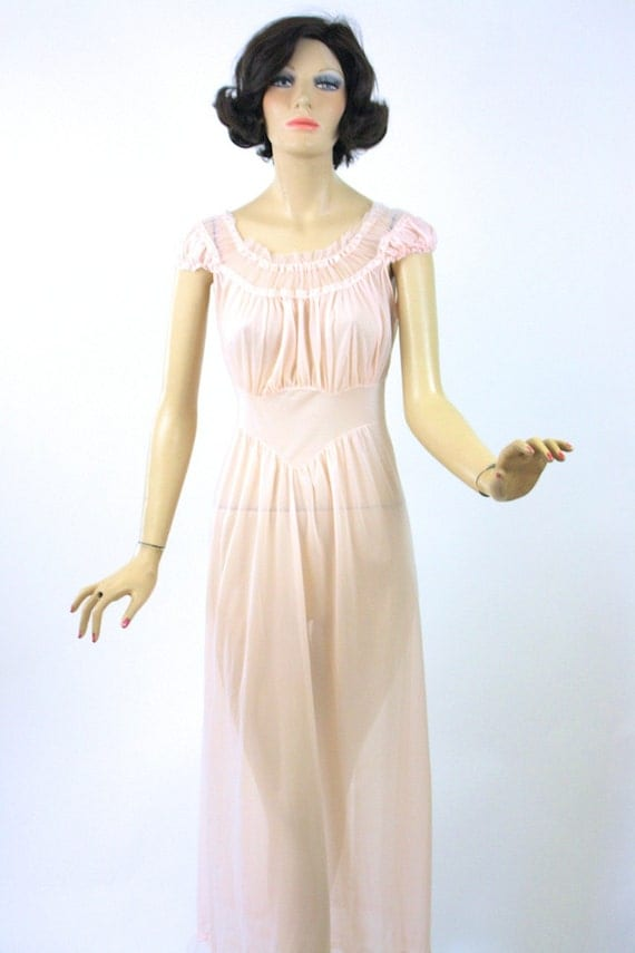 Vintage 50s Nightgown Sheer Pink Nylon Long Nightgown W Tulle