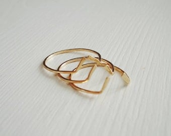 Midi Ring Gold Filled . Gold Chevron  Midi Ring . Ring Size 2.5 Over the Nuckle Knuckle Ring Stackable