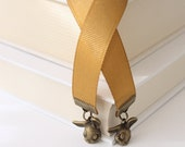 Ribbon Bookmark - Shy Bunnies, Old Gold Grosgrain Ribbon, Antique Brass Finish, Choice of Length