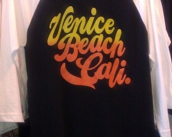 Venice Beach Cali. 3/4 Sleeve Tee Made in USA Unisex   XS S  M   L or   XL