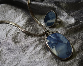Vintage Antique 18th Century Porcelain Fragment Sterling Necklace and Ring Set- Size 6.5