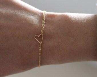 delicate gold bracelet, tiny gold heart bracelet, sideways heart bracelet, delicate gold bracelet, dainty heart bracelet, double thin chain