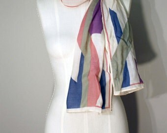 Ginnie Johansen Scarf: 80s Abstract Fine Wool Long Wrap
