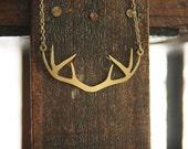 Long Gold Antler Deer Necklace // Boho Gold Antler Necklace // Woodland Necklace // Vintage Rustic Wedding