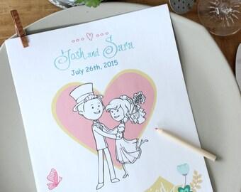 Wedding coloring book Wedding coloring pages Wedding activity