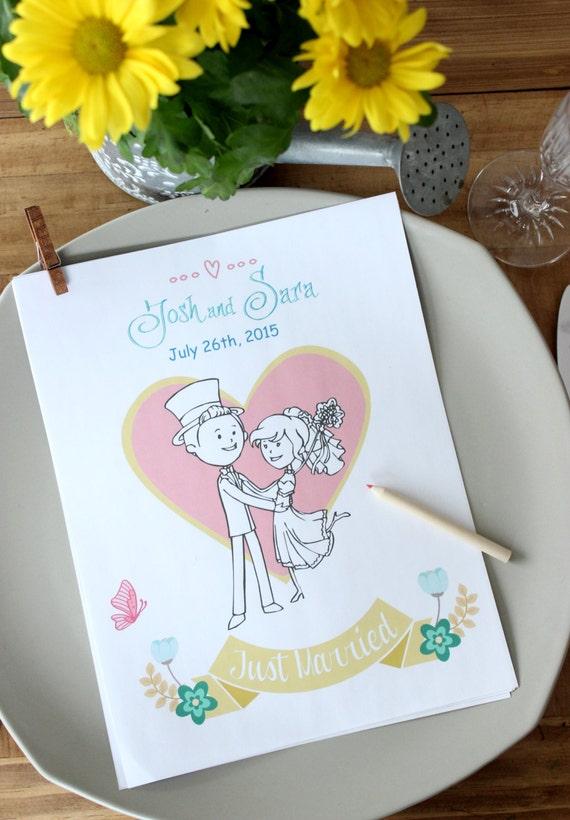 Wedding Coloring Book Kids Printable Personalized Wedding