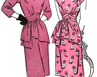 UNCUT Vintage 1940's Advance Pattern 4283 * 1940s Dramatic Cocktail Dinner Dress w/ ASYMMETRICAL Peplum * Size 14 Bust 32
