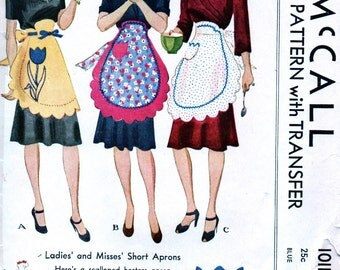 1940s Vintage McCall Pattern 1011 - ADORABLE  Hostess Half Apron with Ruffles and Transfers and Scalloped Hemlines  //  One Size