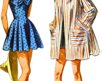 1940s One-Piece Bathing Suit and Beach Coat Simplicity Pattern 2441 - UNCUT &  FF - Bust 32