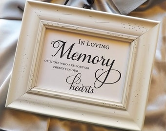 In Loving Memory, Wedding Memorial Sign, Heaven Sign, Wedding Decor, Remembrance Sign, Wedding Reception Signage Wedding Sign 5x7 NO Frame