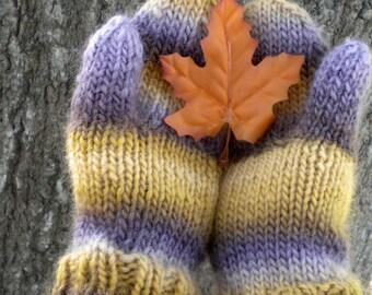 Mittens Purple Gold Stripe Bulky Knit