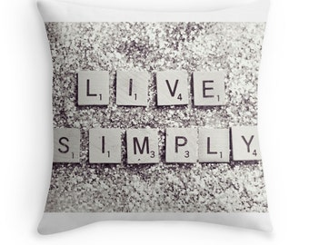 Throw Pillow Case : Live Simply Silver Glitter Scrabble Tiles Black and White Gray Resolution Clean Minimal Glamour Sparkly Home Decor