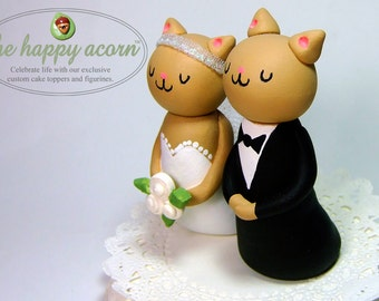 Cat Wedding Cake Topper Kitty Cats - READY TO SHIP - Handmade by The Happy Acorn