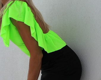 NEON LIME Green Top/Blouse Low Open Back/Backless Ruffle By designer Justyna G
