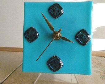Ivy Leaque Fused Glass Clock, Beach Stylized Scene, Choice of Wall or Desk. Original Art Piece, CG3