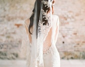 Wedding Veil, Lace Veil, Mantilla Veil, Bridal Veil, Short beaded Veil, Ivory Veil, Fingertip Veil, Beaded Veil, Champagne Veil - Style 312