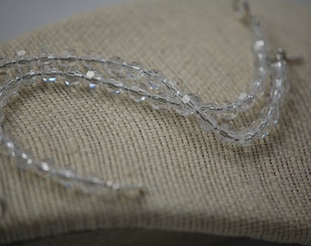 REDUCED from 25.00 Delicate clear Czech glass beaded bracelet. Handmade, Sterling silver, toggle clasp beaded bracelet, bridal, bride.