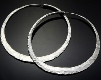 3 Inch Silver Hoop Earrings  // Giant Hoop Earrings // Big Huge Sterling Silver Hoop Earrings