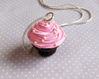 Polymer Clay, Pink, Chocolate, Cupcake Necklace, Food Jewelry, Cupcake Jewelry