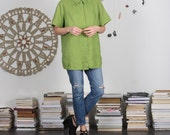 Lime Green Linen Top - M / L