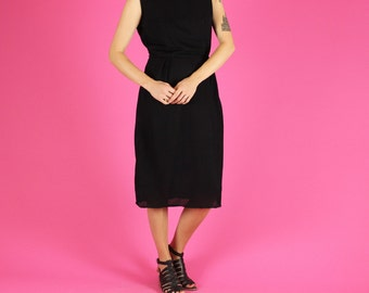 Simple Textured Black Mod Dress - S / M