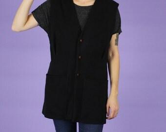 Long Black Vest w/ Floral Embroidery - M