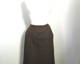 Vintage Skirt 50s Brown Wool Pencil Skirt with Arrow Stitching and metal zip SM - on sale