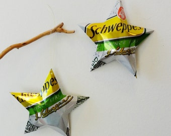 Schweppes Diet Ginger Ale Soda Stars, Christmas Ornaments, Aluminum Can Recycling,  Upcycled