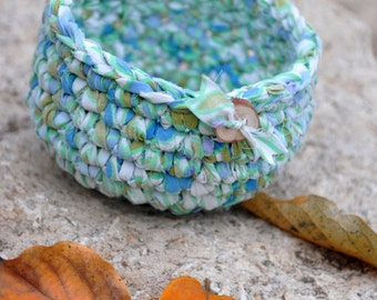 Crochet bowl with a wooden button, Handmade rustic green blue bowl, Eco Friendly Home Decor