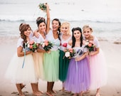 The Mersisters Bridesmaids Skirts Custom Colors Bridal Party Knee Length Tulle Tutu Skirt with Satin Sash