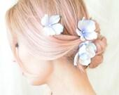 Blue flower hair pins, floral bobby pins, blue hydrangea clips, wedding hair pins, bridal hair accessory