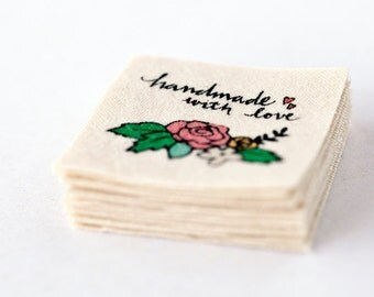 Made with Love Label - Handmade with Love Tag, sew in or iron on cotton label