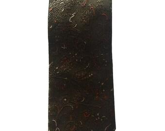 Vintage Neckties Men's 80's Oscar De La Renta, Silk, Floral, Green-Grey, Necktie