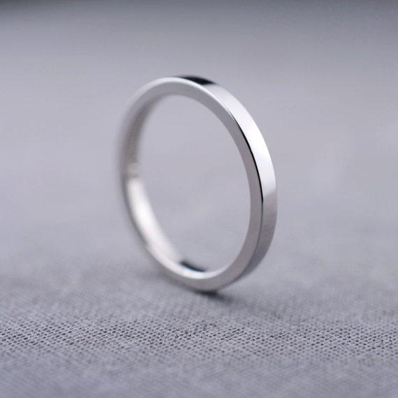 2mm Platinum Wedding Ring 2mm Platinum Flat By LilyEmmeJewelry