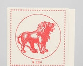 Zodiac Card ... LEO . July 23 - August 22 //// Hand Letterpressed
