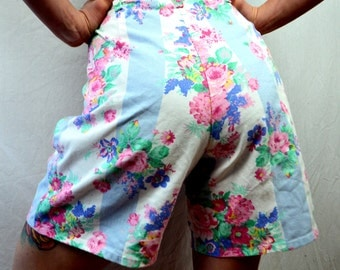 Vintage 90s Floral High Waisted Cotton Shorts