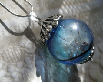 Dandelion Seed Ombre Blue Glass Reliquary Terrarium Orb Pendant w/Crystal Topper-Ride The Wind-Gifts Under 35-Symbolizes Happiness, Desire