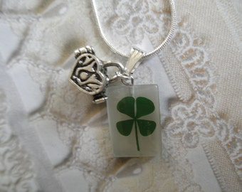 4 Leaf Clover 3 In 1 Rectangle Cat's Eye Pendant w/Wish-Prayer Heart Shaped Box Charm-Gifts Under 30-Symbolizes Luck, Love, Hope, Faith
