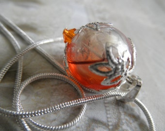 Orange,Clear,Brown Ombre Swirled Glass Dandelion Seed Reliquary Terrarium Pendant-Gifts Under 30-Nature's Art-Symbolizes Happiness