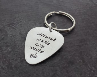 Custom Guitar Pick/Guitar Plectrum Keychain - Personalized Hand Stamped Guitar Pick - Fathers Day - Gifts for Dad