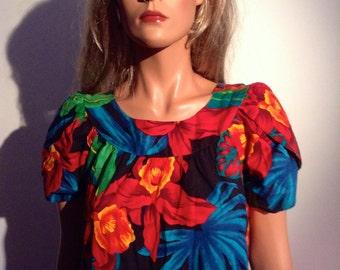 70's Hawaiian Day Dress. Vintage MUMU. House dress, Caftan. Vibrant colored Tropical Print.