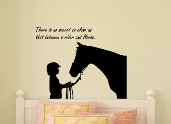 horse decal wall quote sticker wall words horse and rider With stickers chevaux pour chambre fille