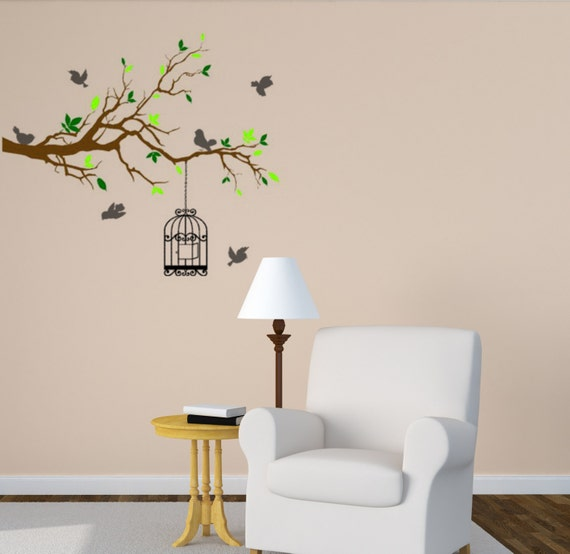 d calque de mur de branche arbre sticker mural par aluckyhorseshoe. Black Bedroom Furniture Sets. Home Design Ideas
