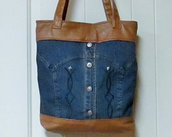 EVERYTHING ON SALE!!! clearance priced  -  Handmade - Tan Leather and Denim Jacket Handbag - Tote Bag