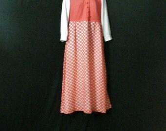Mod Dress Vintage 60s Metal Zipper Orange & White Checkered Preppy Maxi Dress Long ML